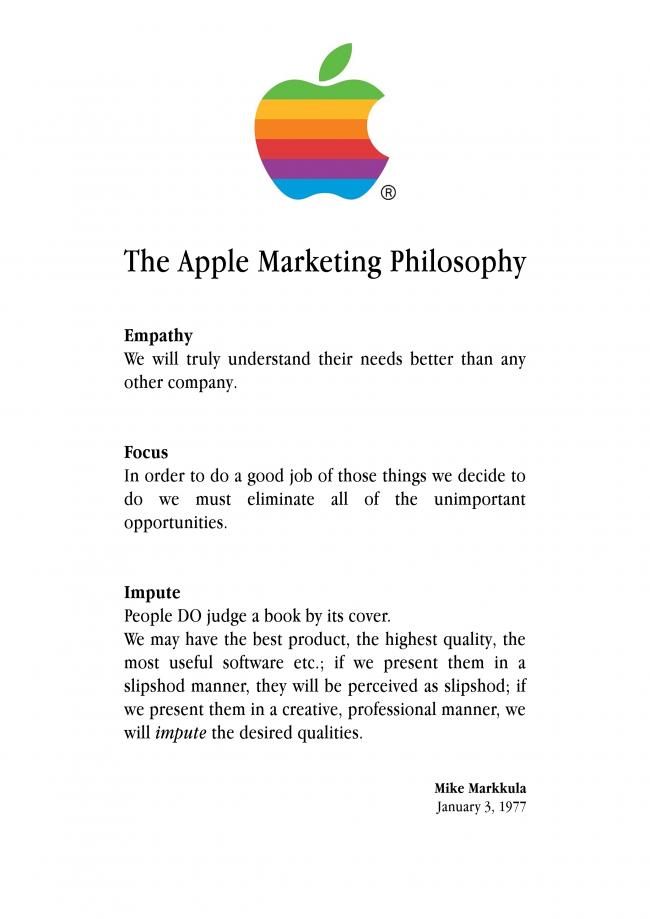 Apples markedsføringsfilosofi, 1977